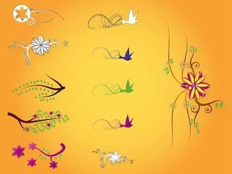 Naturaleza flores colores ilustraciones vectoriales