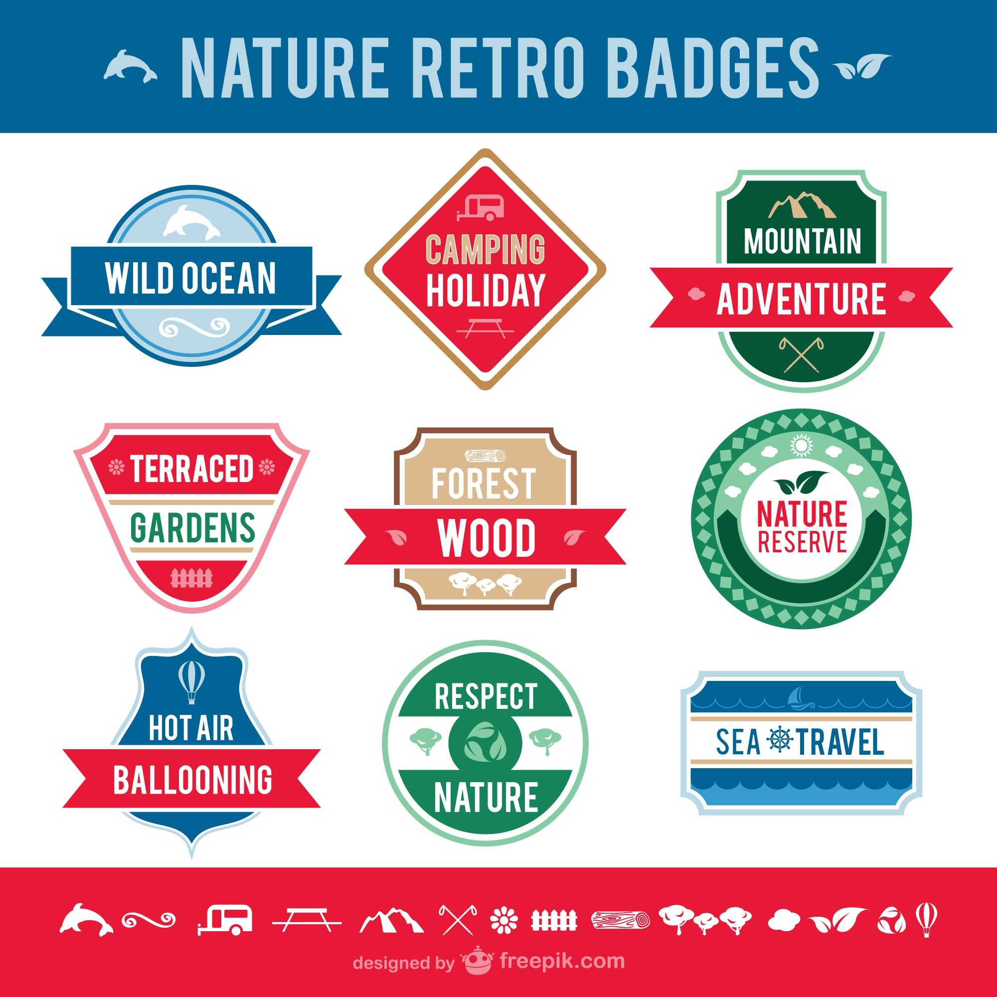 Pack insignias retro