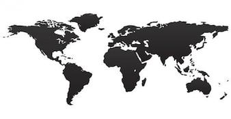 Negro Mapa del Mundo