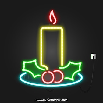 Vela navideña de luces de neón