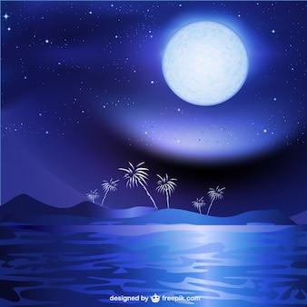 Mar de la noche paisaje de fondo