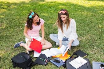 Niñas estudiando en el parque