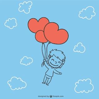 Niño con globos con forma de corazón