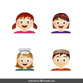 Niños de colección divertida caras