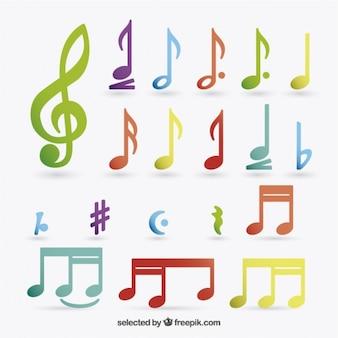 Notas coloridas de música