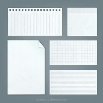 Notas de papel en blanco