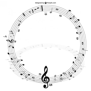Notas musicales en círculo