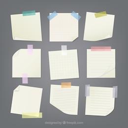 Notas pegadas con cinta adhesiva