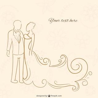 Novio y novia contorno
