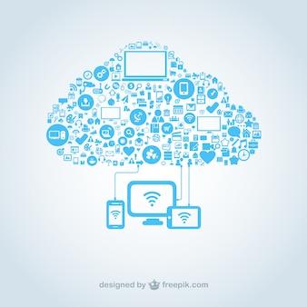 Nube hecha de iconos de computación