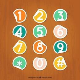 Números del teclado del teléfono en el estilo de etiqueta