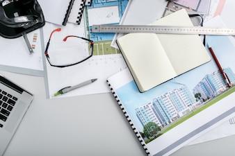 Objetos de interior documentos de fondo de la empresa