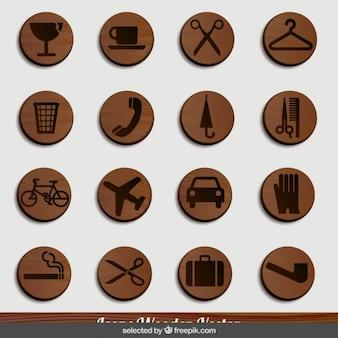 Objetos de madera iconos