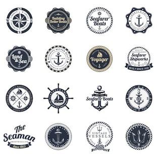 océano y el mar sello conjunto las etiquetas de vectores