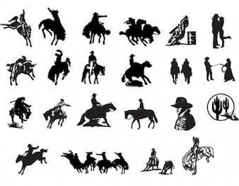 Oeste vaqueros país icono de siluetas