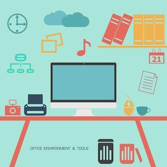 Ilustración plana de oficina