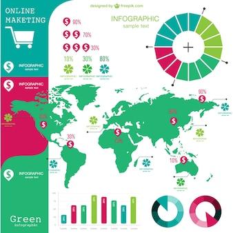 Infografía global de márketing online a color