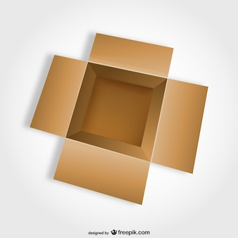 Vista superior de caja abierta