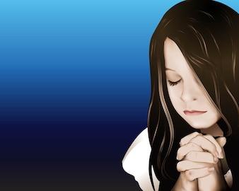 orando niña