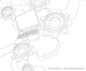 Ordenador iconos conjunto de vectores de fondo la tecnología