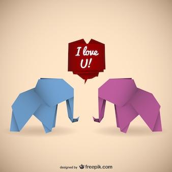 Elefantes del origami con mensaje de amor