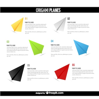 Aviones de papel estilo origami con texto