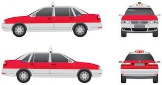 Original chino taxis rojo