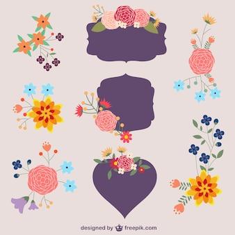Etiquetas y elementos gráficos florales