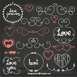 Ornamentos decorativos de amor