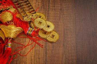 Oro, celebrar, chino, lingote, artesanía