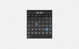 oscura formal de un mes calendario widget de psd