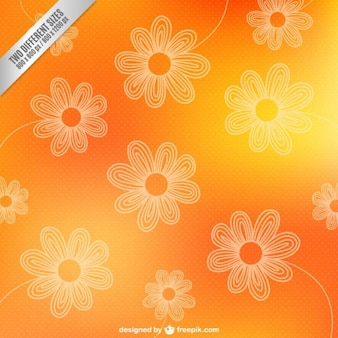 Contornos de flores sobre fondo naranja