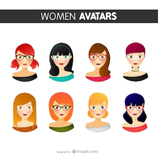 Pack de avatares de mujer