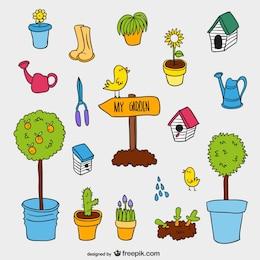 Pack de dibujos de jardín