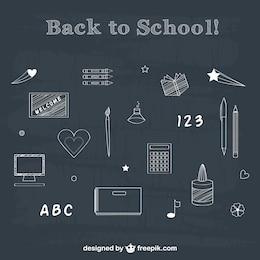 Pack de dibujos de tiza vuelta a la escuela