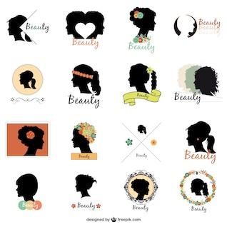 Pack de logos con siluetas de chicas