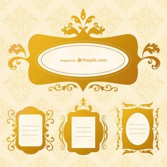 Pack de marcos retro dorados