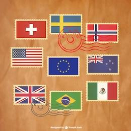 Pack de sellos de banderas de países