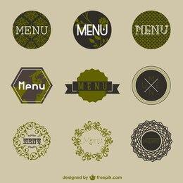 Pack de stickers de menú vintage