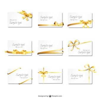 Pack de tarjetas con cintas de oro