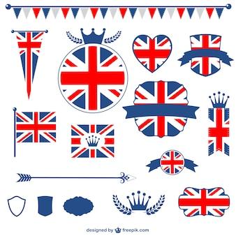 Pack de vectores con la bandera del Reino Unido