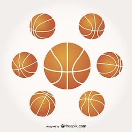 Pack de vectores de balones de baloncesto