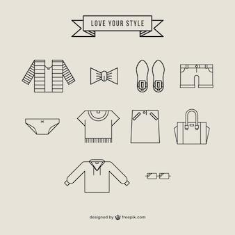 Pack de vectores de iconos de ropa