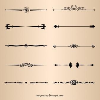 Elementos de la página divisores decorativos de vectores
