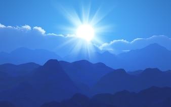 Paisaje azul de montañas