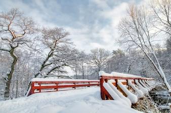 Paisaje de invierno con un puente nevado
