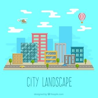 Paisaje de la ciudad en el diseño plano