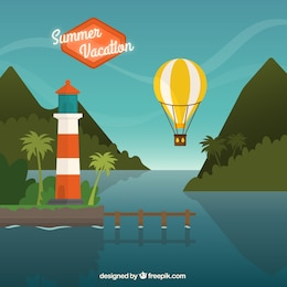 Paisaje de vacaciones de verano