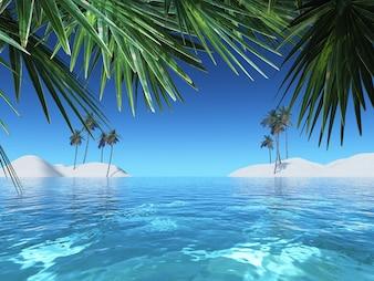 Paisaje de verano con palmeras