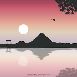Paisaje japonés con monte fuji